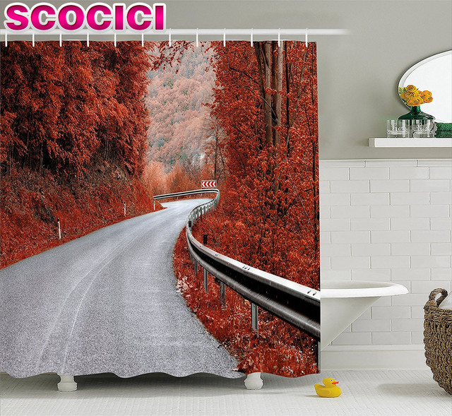 Fall Decorations Shower Curtain Dreamy Asphalt Road with Mid Fall ...