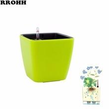 Pot de fleurs créatif automatique dabsorption deau pour la décoration de bureau dintérieur grand Pot de fleur paresseux en plastique hydroponique