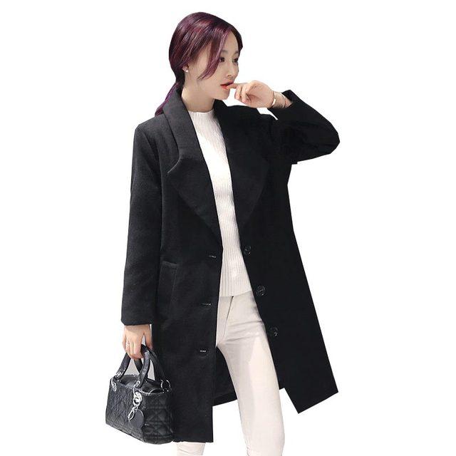 Корейской моды осень-зима шерстяные пальто свободный плюс размер double face шерстяные верхняя одежда однобортный средней длины куртка kp0998