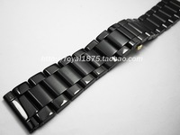 24mm Butterfly buckle Watch Band Solid Stainless Steel Link black Wrist Men luxury Watches Bands Strap For omega Seiko+ tools