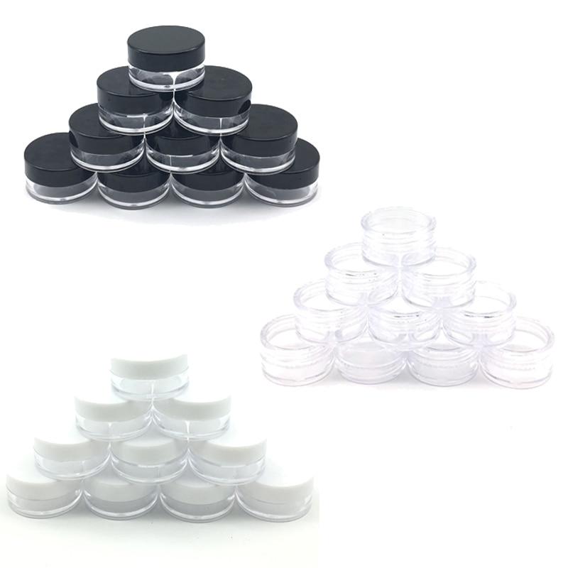100pcs 2g/3g/5g/10g/15g/20g Empty Plastic Cosmetic Makeup Jar Pots Transparent Sample Bottles Eyeshadow Cream Lip Balm Container-4