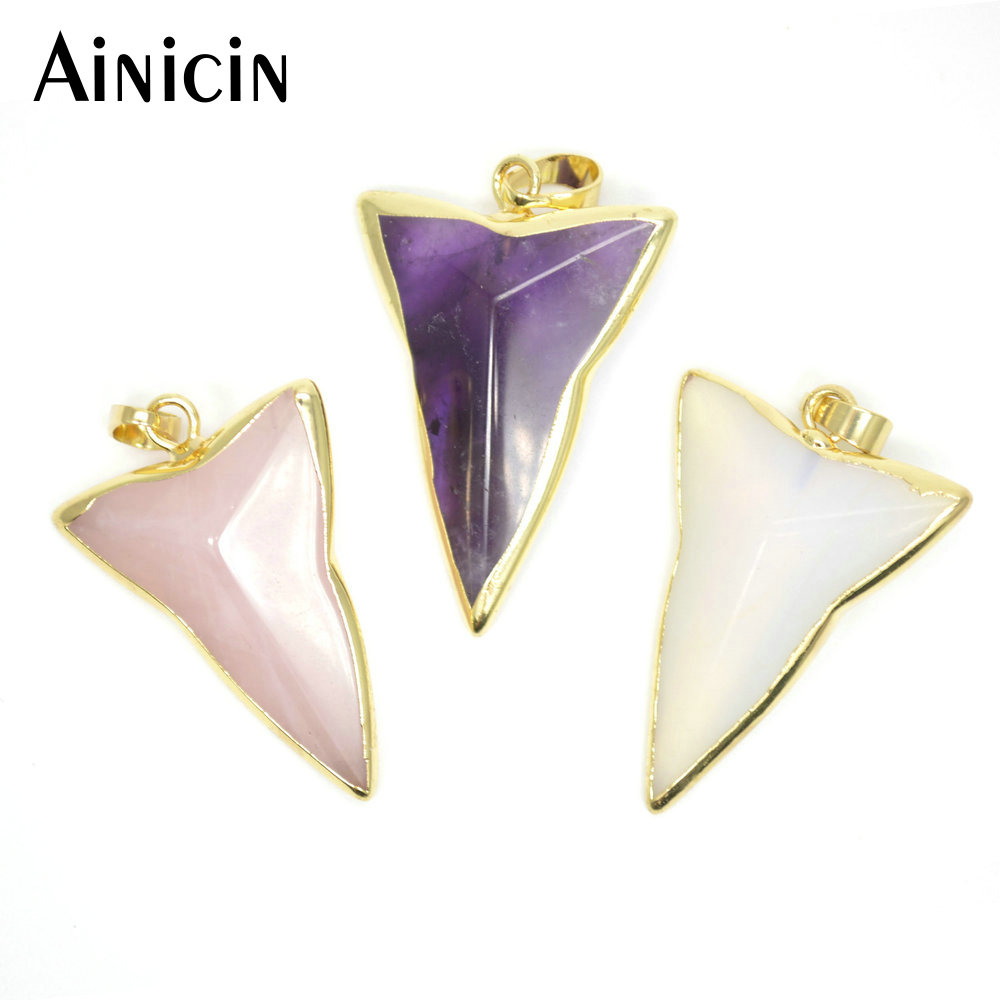Crystal Triangle Gemstone Silver Necklace Pendant Opal Amethyst Silver Plated Triangle Necklace Rose Quartz Black