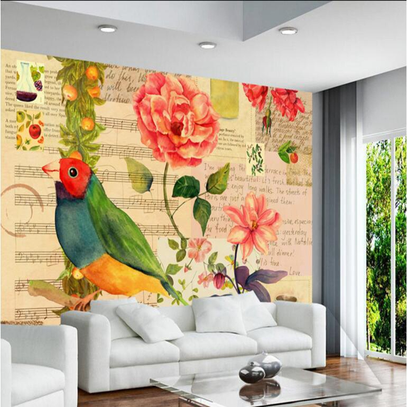 3d Wallpapers American Vintage Garden Flowers and Birds Contact Paper Photo Wallpaper for Living Room Thicken Mural Wallpaper the hermitage birds and flowers