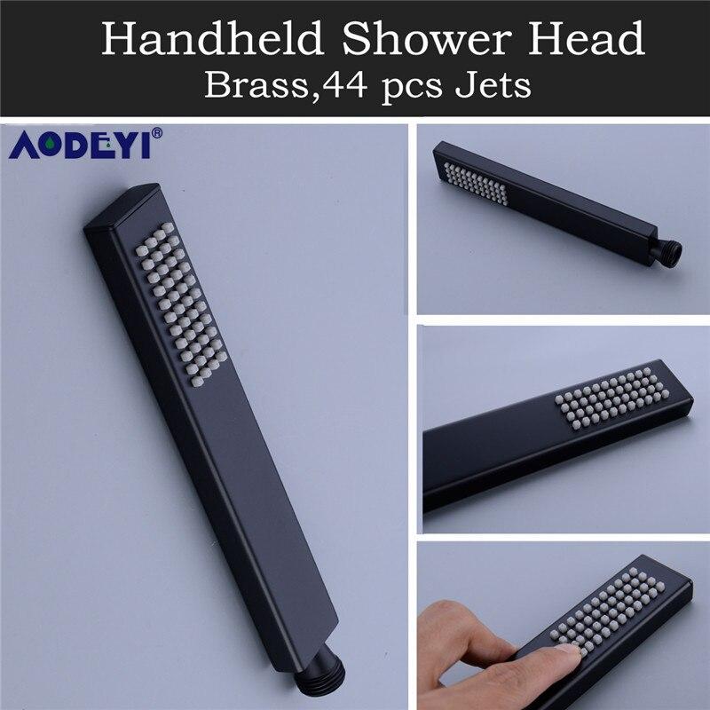 AODEYI Premium Qualität Messing Schwarz Dusche Set Badezimmer 8