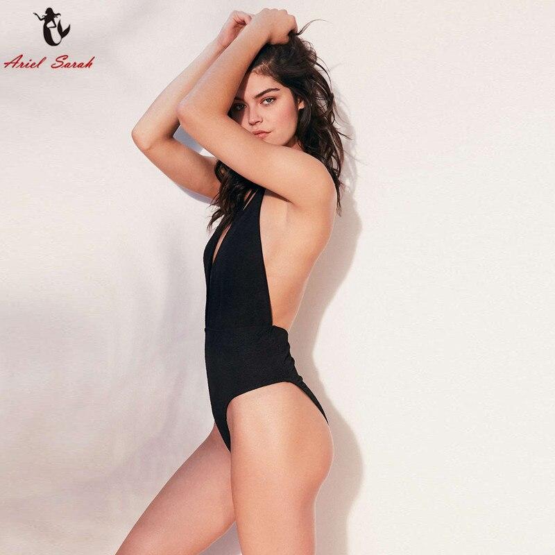 Ariel Sarah One Piece Swimsuit Solid Swimwear Women 2017 Bikini Set May Beach Bathing Suit Monokini Swimming Suit For Women ariel sarah solid bathing suit women swimsuit deep v push up bikini set sexy bandage brazilian bikini swimwear monokini q339