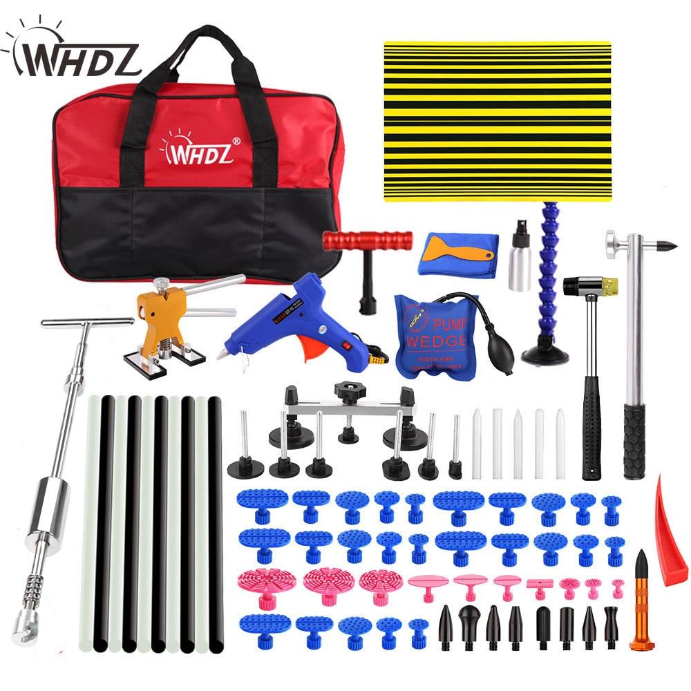 WHDZ PDR tool set Car Dent Removal Hand Tool Set PDR Reflector Board dent puller 2in1 Slide Hammer glue gun pump wedge tools kit все цены