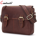 CONTACT'S Genuine Leather Bag Men Messenger Bags Vintage Brown Famous Brand Male Shoulder Crossbody Bags for men Briefcases 2017