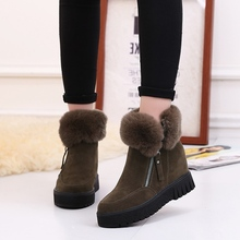 Women Snow Boots Winter Warm Ankle Boots Faux Fox Fur Comfort Elevators 8cm High heel Shoes Woman Ladies Creepers Botas Mujer
