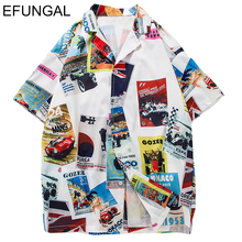 EFUNGAL Car Print Turn-down Collar Men Shirts Retro Hip Hop