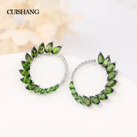CSJ 925 Sterling Silver Stud Earrings Fine Jewelry Genuine Natural Chrome Diopside Women Party For Gift