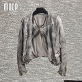 Серый печати натуральная кожа куртки женщин 100% Овчины мотоциклетная куртка весте ан cuir femme croped jaqueta де couro LT333