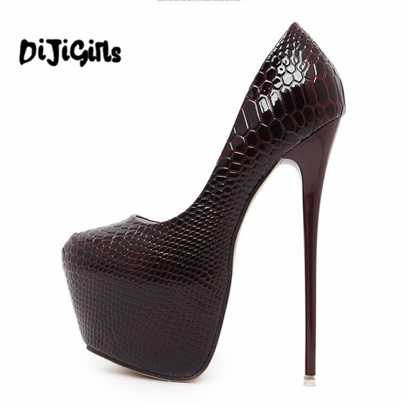 Fashion Women Round Toe Height Platform Extreme High Heels Shoes 16CM Snake Sexy Pumps Nightclub Evening Party Wine Red Black 40 2018 fashion women round toe height platform extreme high heels shoes 16cm snake sexy pumps nightclub evening party
