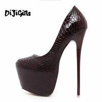 Fashion Women Round Toe Height Platform Extreme High Heels Shoes 16CM Snake Sexy Pumps Nightclub Evening