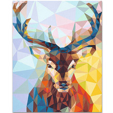 WEEN Geometric deer-DIY Painting By Numbers Kit, Acrylic Paint Number, Modern Wall Art Picture, Canvas Decor 40X50cm