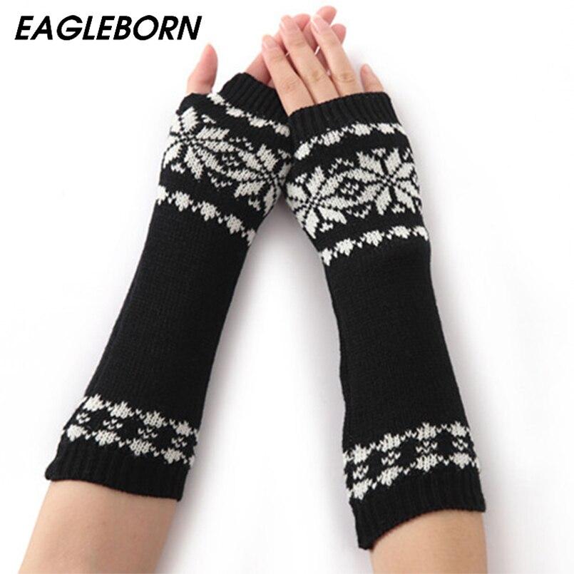 EAGLEBORN Women Winter Arm Warmers Fingerless Long Gloves Warm Mittens Elbow Thread Knitted Sleeves 32cm Glove