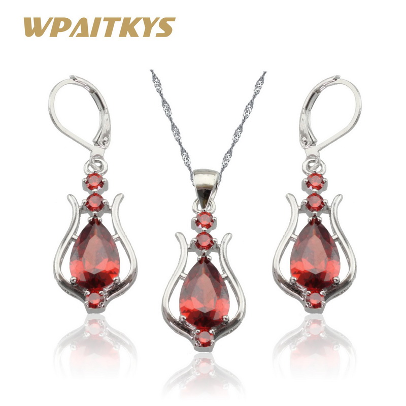 WPAITKYS Red Cubic Zirconia Silver Color Necklace Pendant Long Drop Earrings Jewelry Sets For Women Free Gift Box