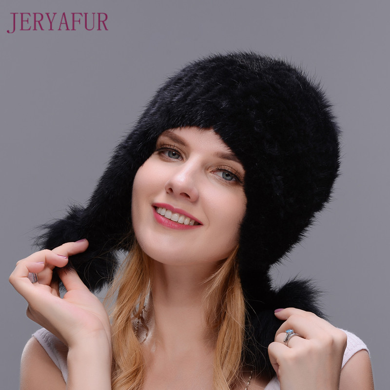 Hot Sale Real Natural Mink Fur Hat Double Closely Woven Hat For Women With Three Fox Fur Pom Poms Thick And Warmth pom poms and llama snowsuit 2 colors pre sale