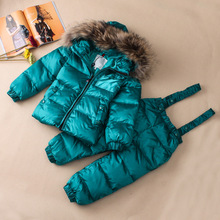 European and American high-end outdoor children's wear, ski suit, boys and girls, down jacket, raccoon hair collar