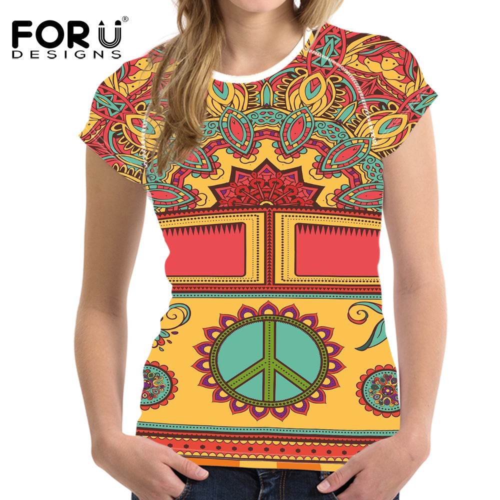 FORUDESIGNS Colorful Hippie T Shirts for Women Novelty Female Ladies Summer Tops Tee Funny Female Animal T-shirt Polyester