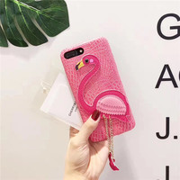 3D Cute Bird Flamingo Soft Leather Cellphone Cases For IPhone7 7Plus Soft Leather PU Silicon Coque