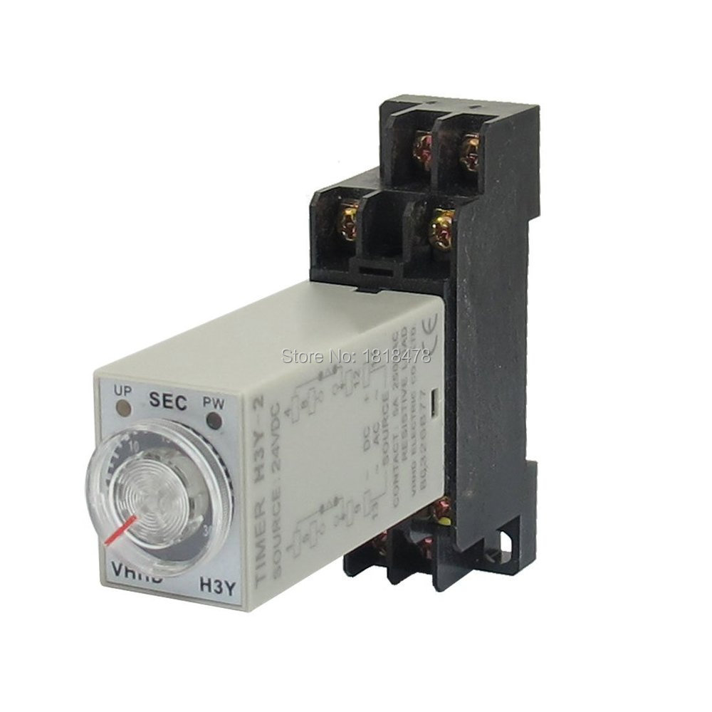 DC 24V H3Y-2 Time Delay Relay Solid State Timer 0-60S DPDT w Socket max 10s 12vdc h3y 2 power on 3a time delay relay solid state dpdt socket base
