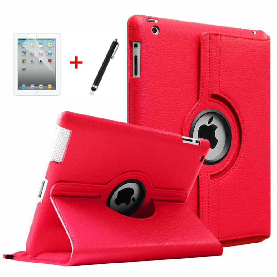 For Ipad 2 3 4 Tablet Case 360 Degree Rotating PU Leather Stand Flip Folio Screen Protector Cover For Ipad 3 Smart Case+Film+Pen