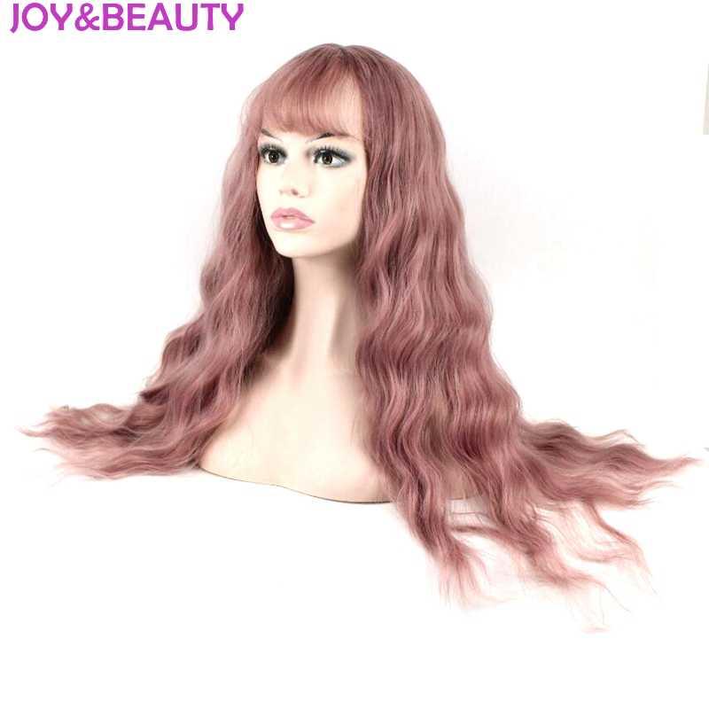Радость и красота волос для женщин свободные вьющиеся парик синтетические волосы 24 дюймов высокое температура волокно Роза красны
