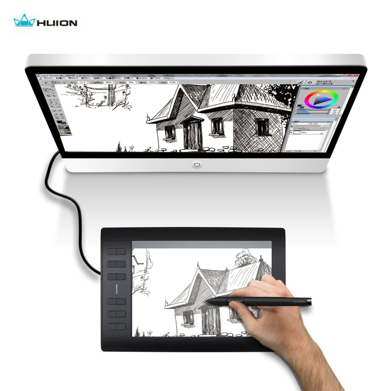 Huion New 1060 Plus Professional Digital Drawing Tablet 8192 Levels Pen Pressure 12 HotKey Graphic Tablets with Two Digital Pens image