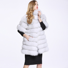 2017 Luxury Genuine Natural Real Fox Fur Coat Jacket Mideum Fur Warm Outerwear Winter Black O-Neck Warm Women Fur Coats C113