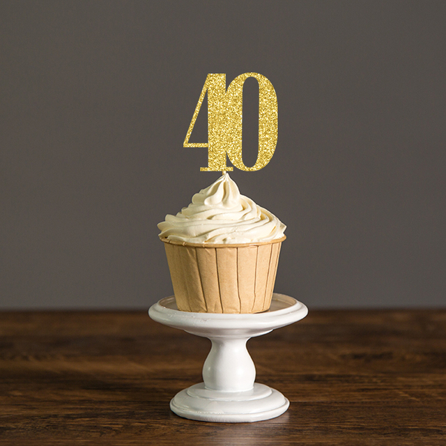 Gold Or Silver Glitter Number 40 Cupcake Toppers Picks40thforty