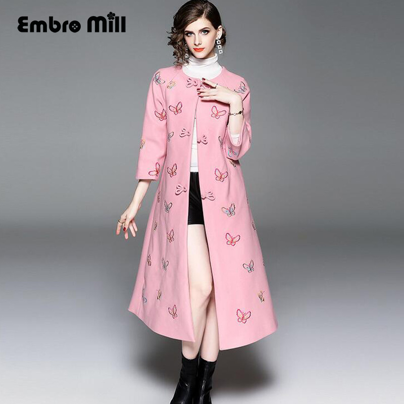 Trench-Coat Floral Plus-Size Embroidery Slim Vintage Autumn Winter Women Cheongsam S-XXL