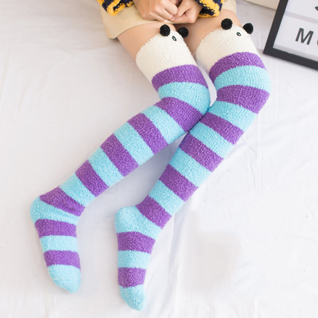 69ecc03c73d Hot Japanese Girl Animal Modeling Knee Socks Striped Cute Lovely Kawaii  Cozy Long Thigh High Socks