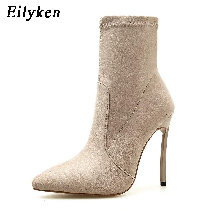 0a3a347c2 Melhor Eilyken 2018 Outono Inverno Mulheres Botas de Saltos Finos Botas  Botas de Tecido Stretch Moda Ankle Boots de Salto Alto Mulher Sapatos  Barato Online ...