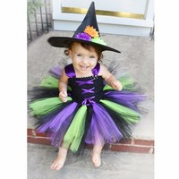 Moeble 2017 Baby Witch Costume Halloween Girl Tutu Dress Kids Fancy Clothing For Party Handmade Children