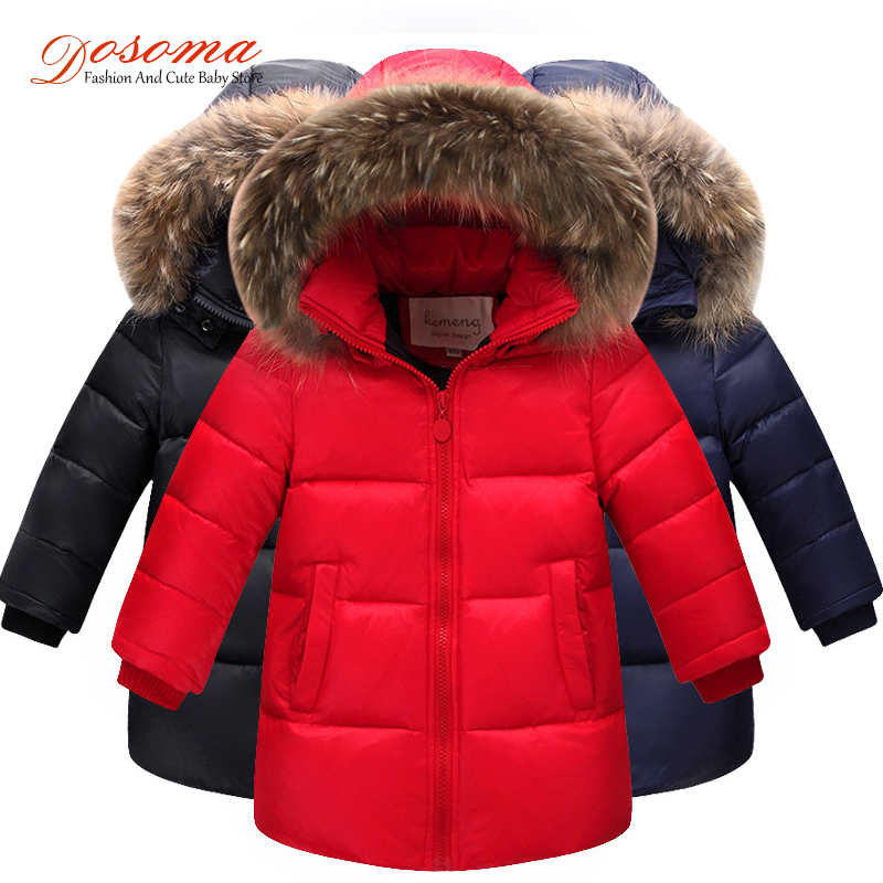 Down Coats And Jackets For Boys Winter Kids Clothes Fashion Snow Suits Big Fur Hooded Thick Winter Warm Children's Jacket Girls new 2017 russia winter boys clothing warm jacket for kids thick coats high quality overalls for boy down