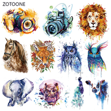 ZOTOONE Ink Camera Stripes Patches Set Iron on Transfer Patch for T-shirts Girls Kids Clothing DIY Thermo Stickers Clothes G