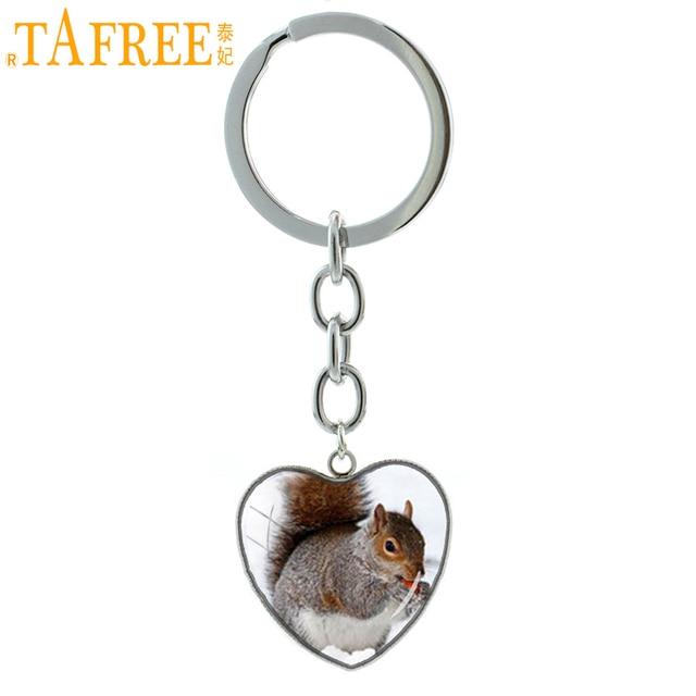 TAFREE Nova Chegada Esquilo Esquilo chaveiro animal Bonito em forma de coração chaveiro anel artesanal jóias para homens mulheres meninas HP531