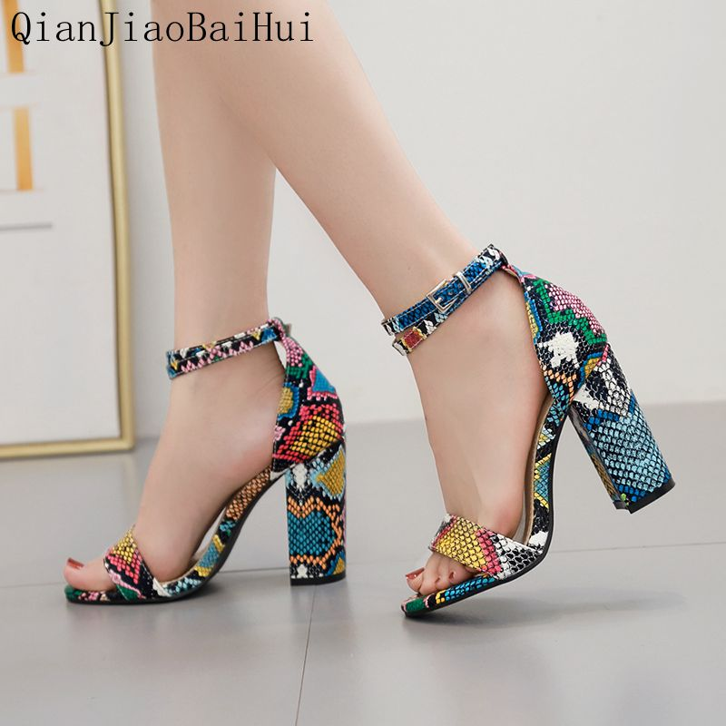 Qianjiaobaihui Colour Snake Sandals Thick Heel High Sandals Woman Ankle Strap Snake Shoes Summer Banquet Party Sandales Female