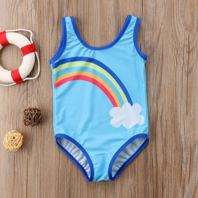 Pudcoco-maillot de bain pour bébés filles | Bleu, arc-en-ciel, imprimé, nouvelle collection, 2018