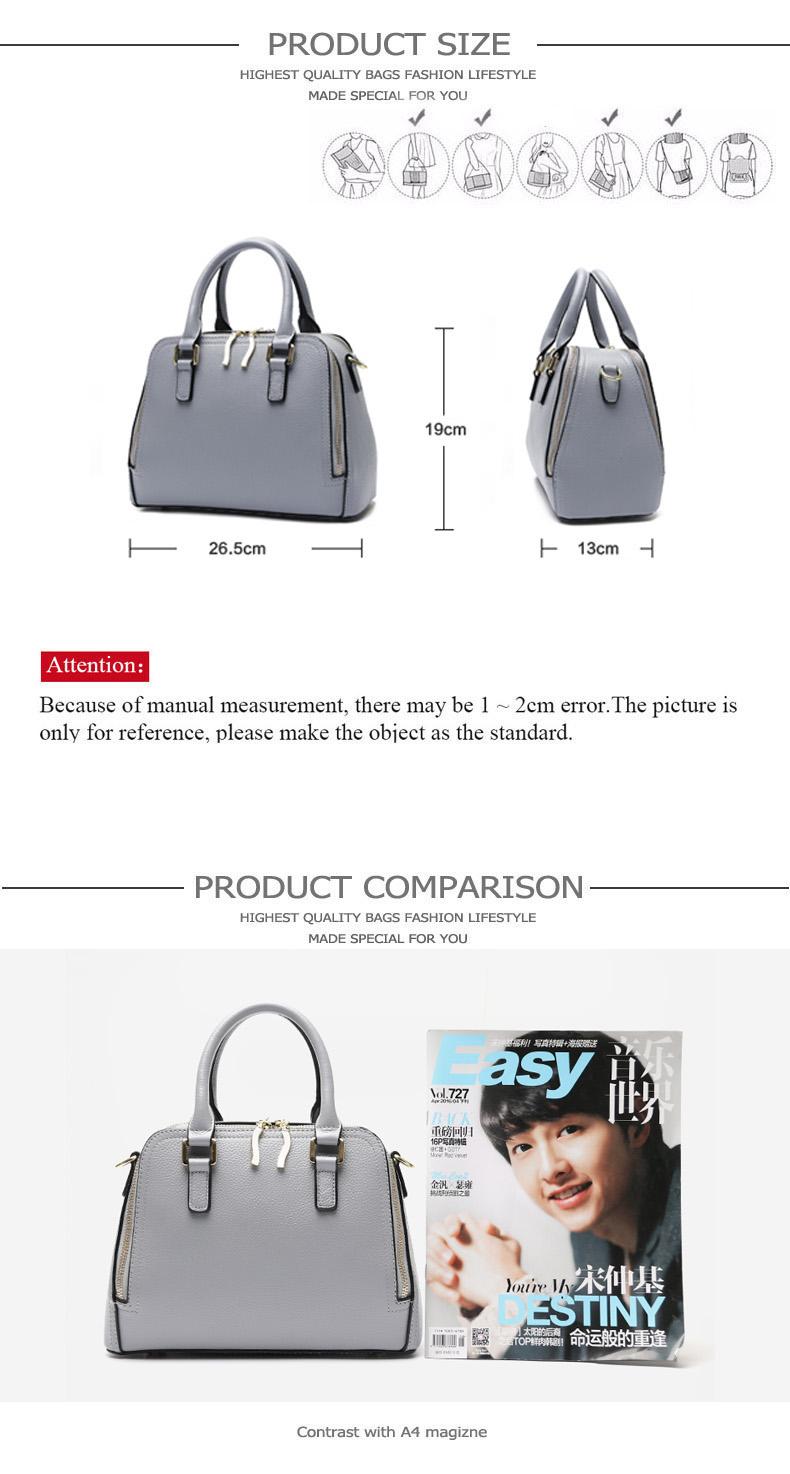 women leather handbags size