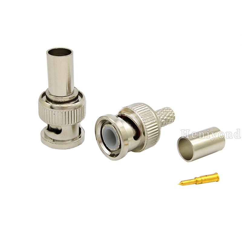 Freeshipping 10PCS BNC Male Crimp Plug For RG59 Coaxial Cable RG59 BNC Connector BNC Male 3-piece Crimp Connector Plug For Cctv