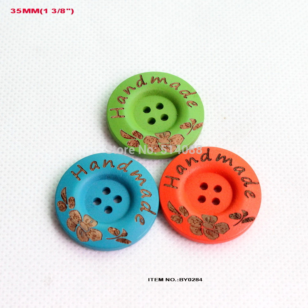 Bulk buttons for crafts -  Mix 3 Colors 45pcs Lot 35mm Handmade Flower Large Wooden
