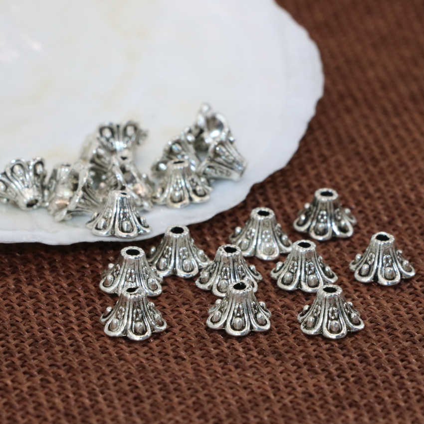 5*9mm wholesale price 20pcs high grade flower shape Tibet silver-color spacers beads caps jewelry findings accessories B2532