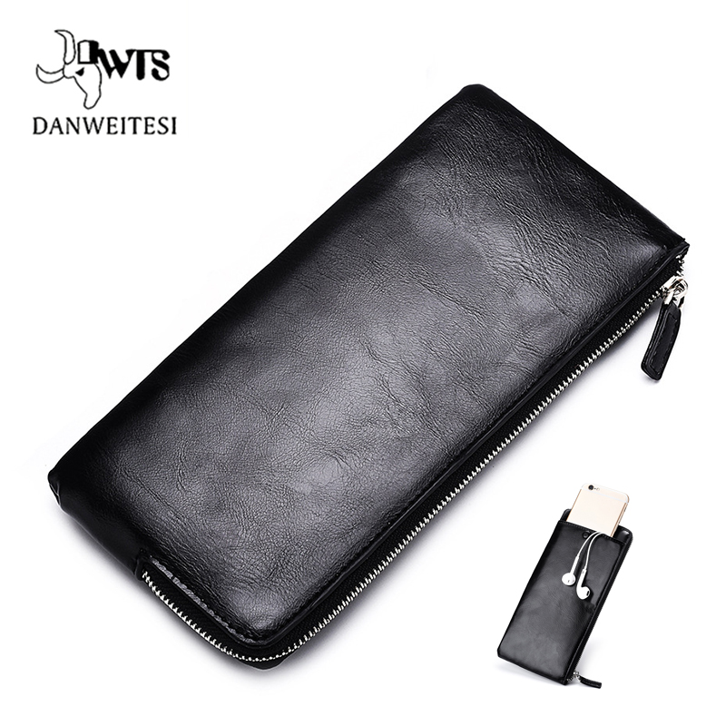 DWTS men wallets Card holder Leather male Wallet luxury Long Design Quality passport cover Fashion Casual Mens Purse Zipper
