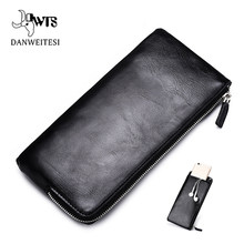 DWTS men wallets Card holder Leather male Wallet luxury Long Design Quality passport cover Fashion Casual Mens Purse Zipper(China)