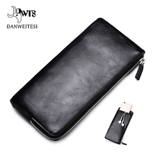 DWTS men wallets Card holder Leather male Wallet luxury Long