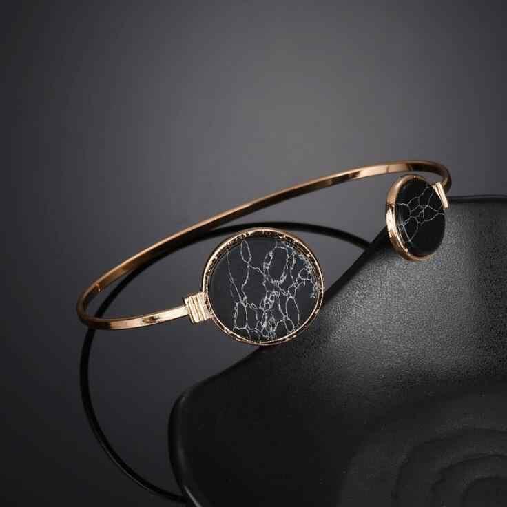 2018 צבע זהב חדש אסימטרית מעגל קאף צמידים & צמידי וינטג 'פו אבן תכשיטי אופנה קסמי צמיד לנשים