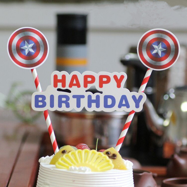 1 Pcs American Captain Cake Cupcake Topper Superhero Cake Flag Kids