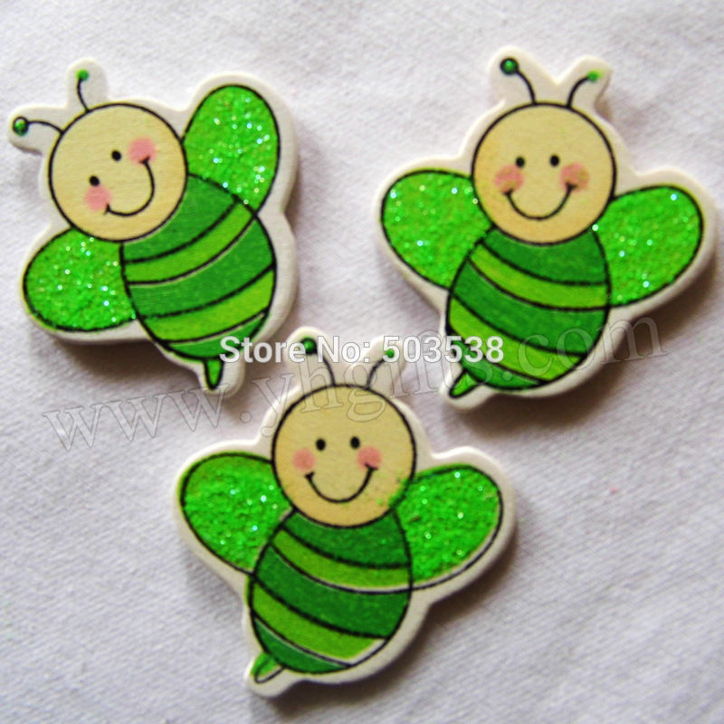 500PCS/LOT.Wood glitter honeybee stickers,Kids toys,scrapbooking kit,Early educational DIY.Kindergarten crafts.Classic toy