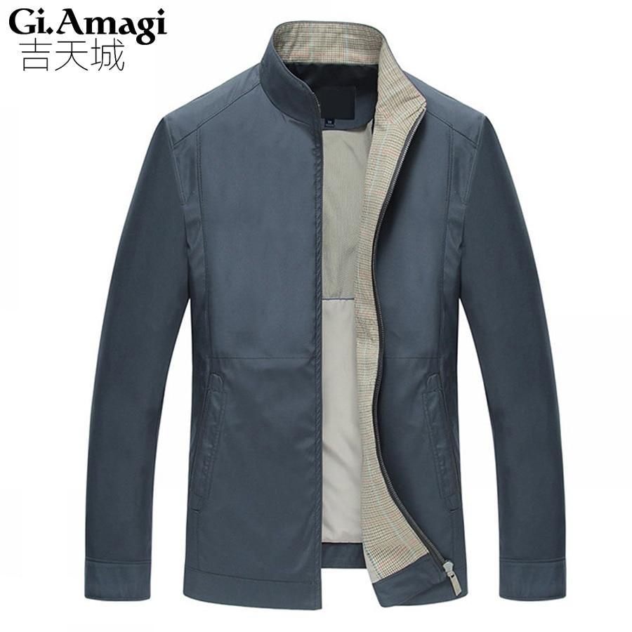 High Quality 2017 Men Jacket Coats Business Casual Jackets Stand Collar Zipper Solid Coats & Jackets Big Size Men Clothing